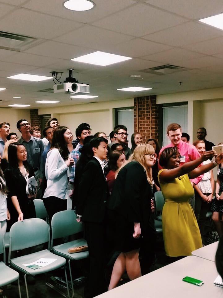 Virginia teen Democrats take a selfie with Delegate Lashrecse Aird at the Virginia Young Democrats Teen Caucus High school Leadership Academy